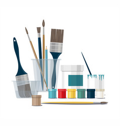 color paints and brushes tools isolated vector image