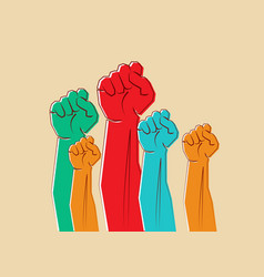 colorful clenched fists hands raised in air vector image