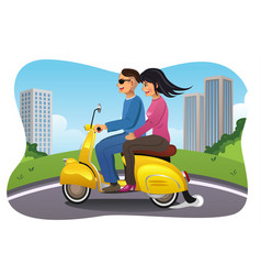Couple riding a motorcycle vector