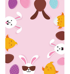 cute easter bunnies happy eatser sign vector image