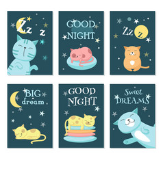 cute sleeping pet cats card set vector image