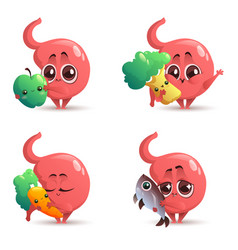 Cute stomach character with healthy food vector