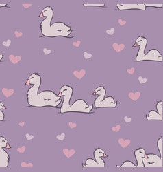 cygnets love on lilac seamless pattern vector image