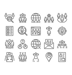 Executive search icon head hunting line icons set vector