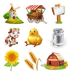 Farm set agricultural plants animals vector