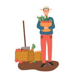 farming male with basket carrots vegetables vector image
