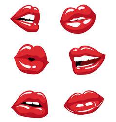 Female red lips and mouth vector