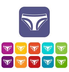 Female underwear icons set flat vector