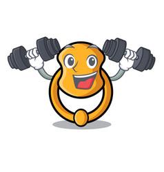 Fitness door knocker isolated on character cartoon vector