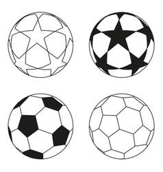 flat black and white soccer ball star set vector image