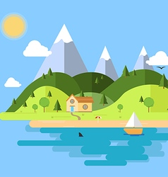 Flat house nature island vector