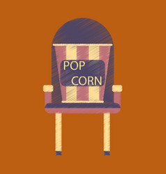 flat icon in shading style popcorn cinema vector image