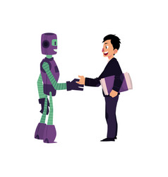 Flat robots people interaction scenes vector