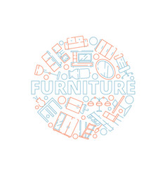 furniture background interior tools in circle vector image