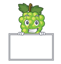 grinning with board green grapes character cartoon vector image