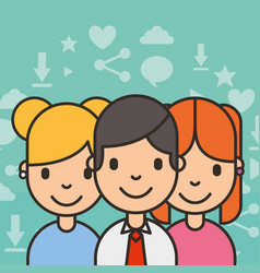 Group teenagers people social media background vector