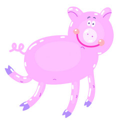 hand-drawn with pig in a vector image