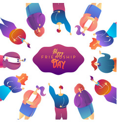 happy friendship day greeting card with diverse vector image