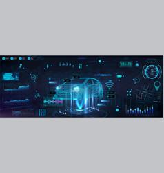 Hud diagnostic auto with hologram car vector