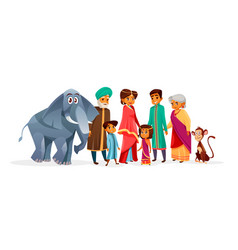 indian family cartoon vector image