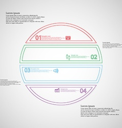 Infographic with circle divided to four color vector