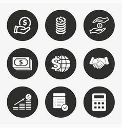 Investments money icon set vector