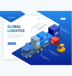 isometric logistic infographic template with right vector image
