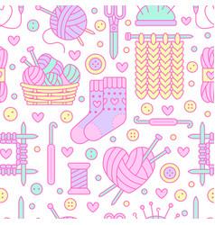 knitting crochet seamless pattern cute vector image