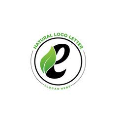 letter e with leaf logo green leaf logo icon vector image