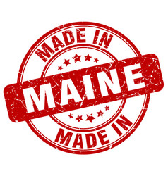 Made in maine red grunge round stamp vector