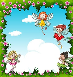 Many fairies flying in the sky vector image