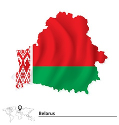 Map of Belarus with flag vector image