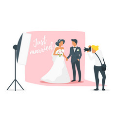 marriage day photo session vector image