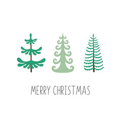 merry christmas set christmas trees ideal vector image