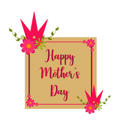 Mother day card with text and flowers vector