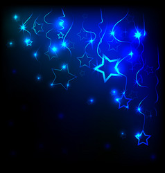 neon hearts and stars and dark background vector image