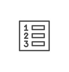numbered list line outline icon vector image