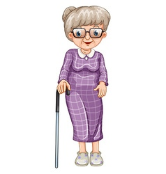 Old lady with walking stick vector