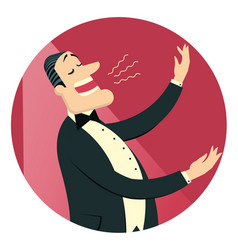 Opera singer man in black suit sings in theater vector