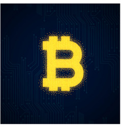 Outline bitcoin sign textured with dark blue backg vector