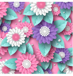 Paper cut 3d flowers banner in pink white and vector