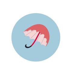 Pink umbrella circle icon sticker vector