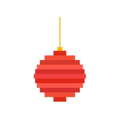 pixel art christmas tree ball flat vector image