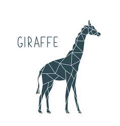 polygonal giraffe wild animal poster vector image