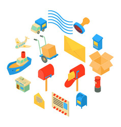 Poste service icons set isometric style vector