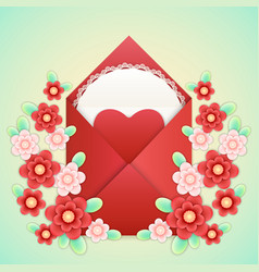 realistic envelope with heart lace and flowers vector image