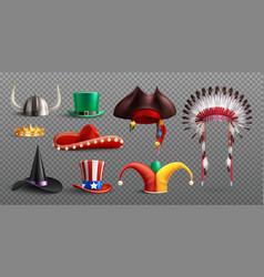 realistic masquerade hats transparent set vector image