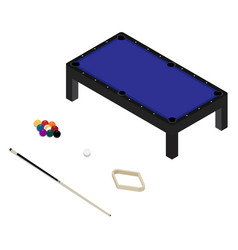 realistic pool table with set billiard balls vector image