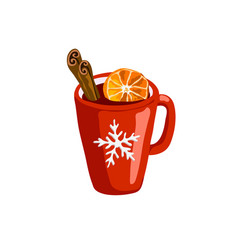 Red mug with mulled wine icon isolated on white vector