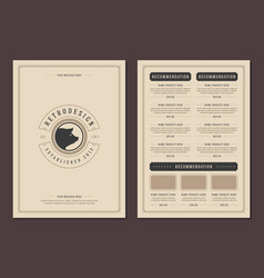restaurant logo and menu design brochure vector image